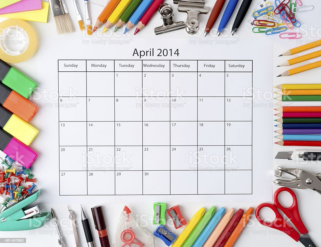 Monthly calendar with office and stationery for 2014 royalty-free stock photo