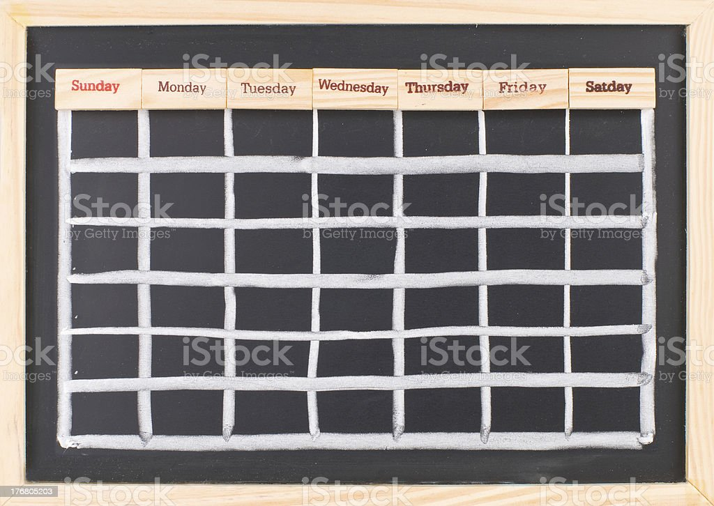 Monthly calendar with week words print stock photo