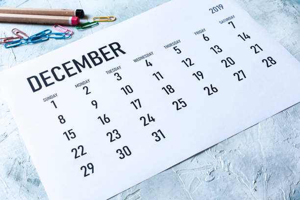 Monthly December  2019 calendar Simple 2019 December monthly calendar on table with office supplies december stock pictures, royalty-free photos & images