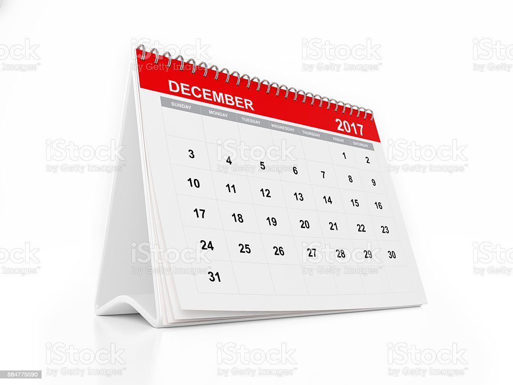 2017 Monthly Desktop Calendar: December stock photo