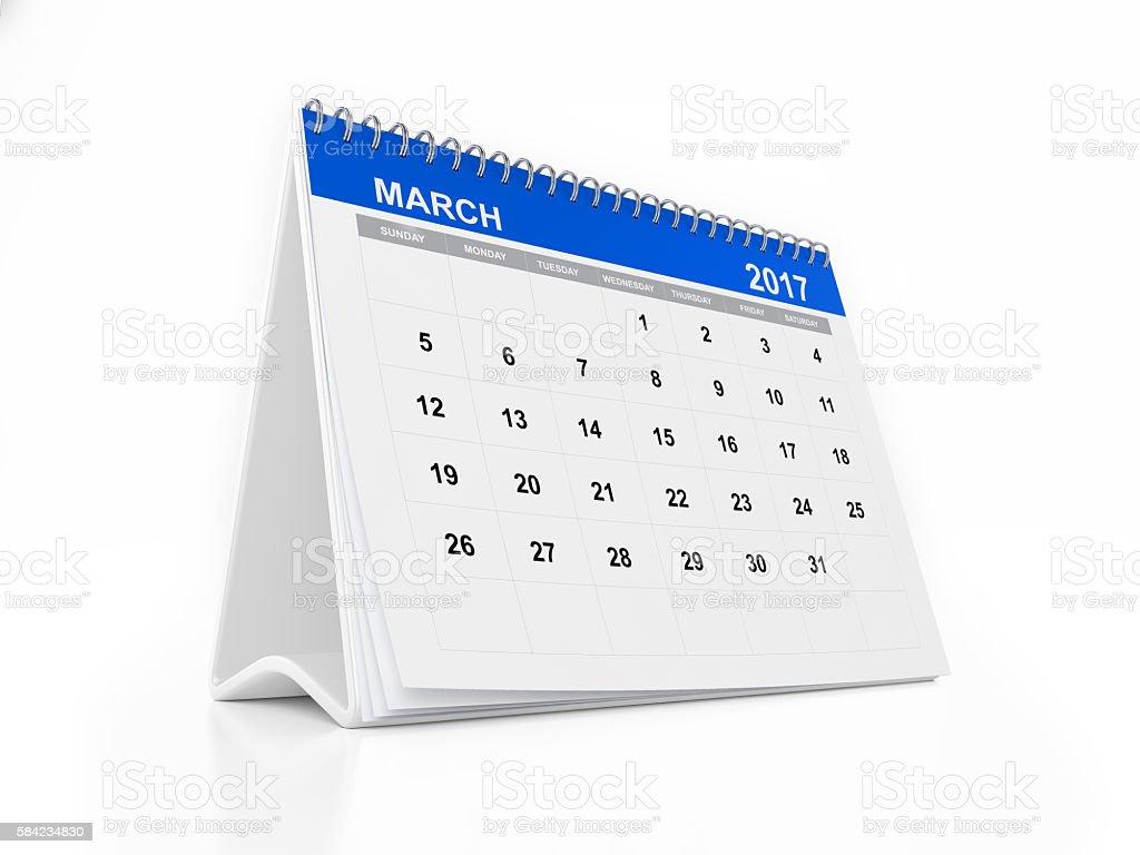 2017 Monthly Desktop Calendar: March stock photo