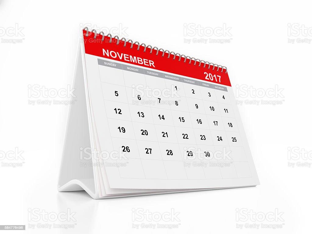 2017 Monthly Desktop Calendar November Foto De Stock Y Más