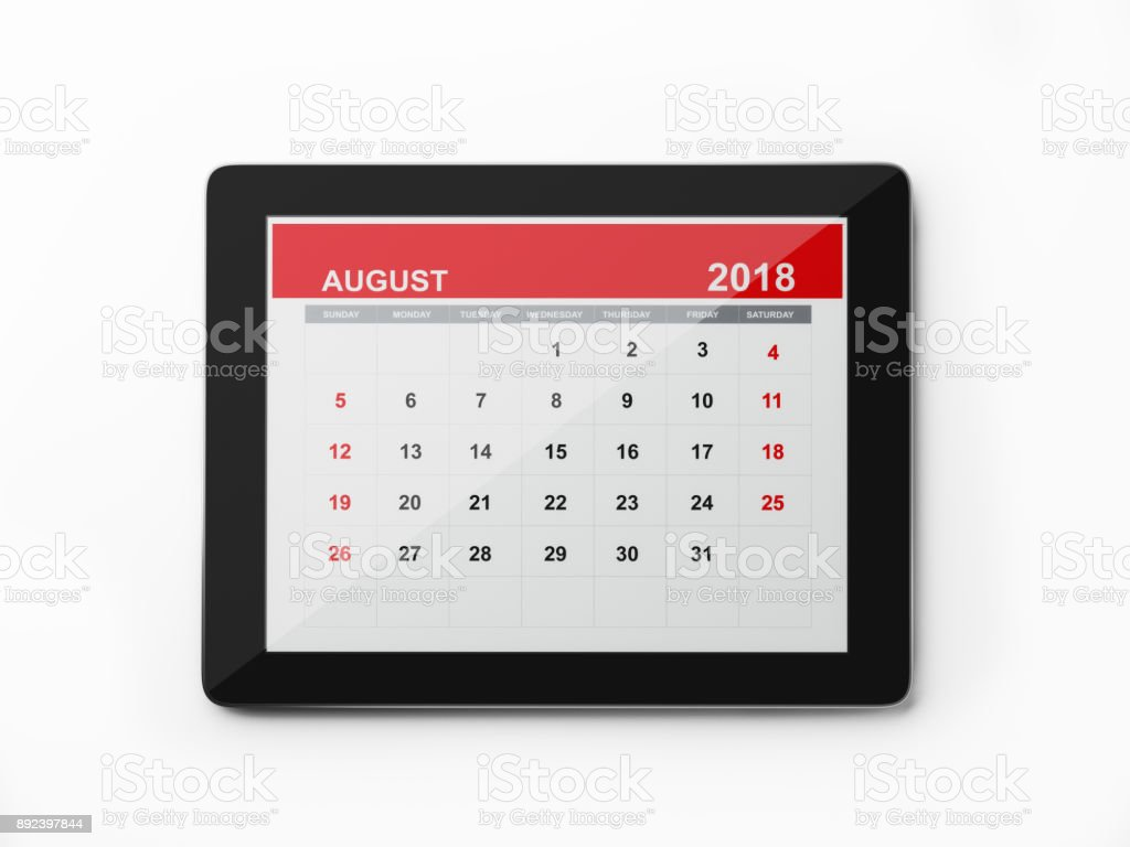 Calendario Digital mensual 2018: agosto - foto de stock