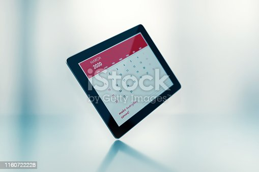 2019 monthly digital calendar: March. Horizontal composition with copy space. The calendar is red in color and isolated on white background.