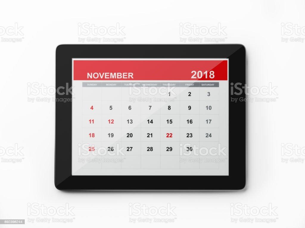 Calendrier Digital.2018 Monthly Digital Calendar November Stock Photo Download Image Now