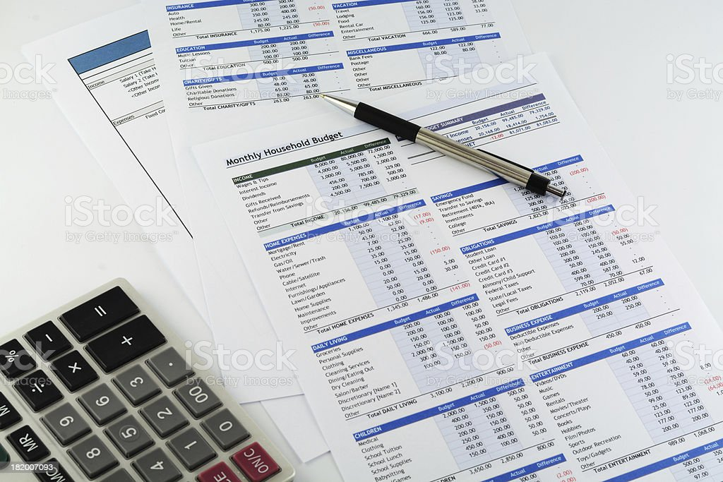 Monthly Household budget report royalty-free stock photo