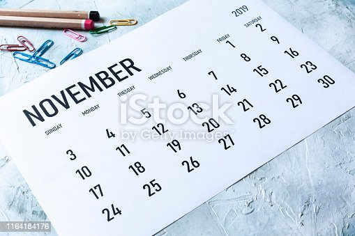 923430302 istock photo Monthly November 2019 calendar 1164184176