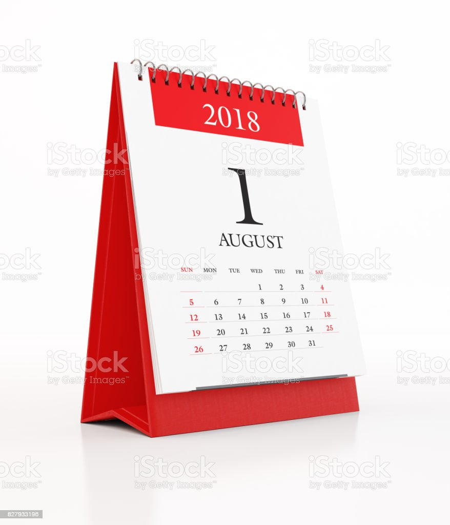 2018 Monthly Red Desk Calendar: August stock photo