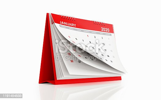 2020 Monthly Red Desk Calendar: January. Horizontal composition with copy space. Clipping path is included.  The calendar is red in color and standing on a white reflective background. Isolated on white.