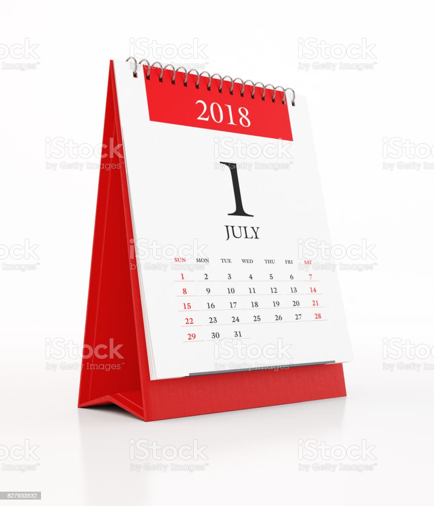 2018 Monthly Red Desk Calendar: July stock photo