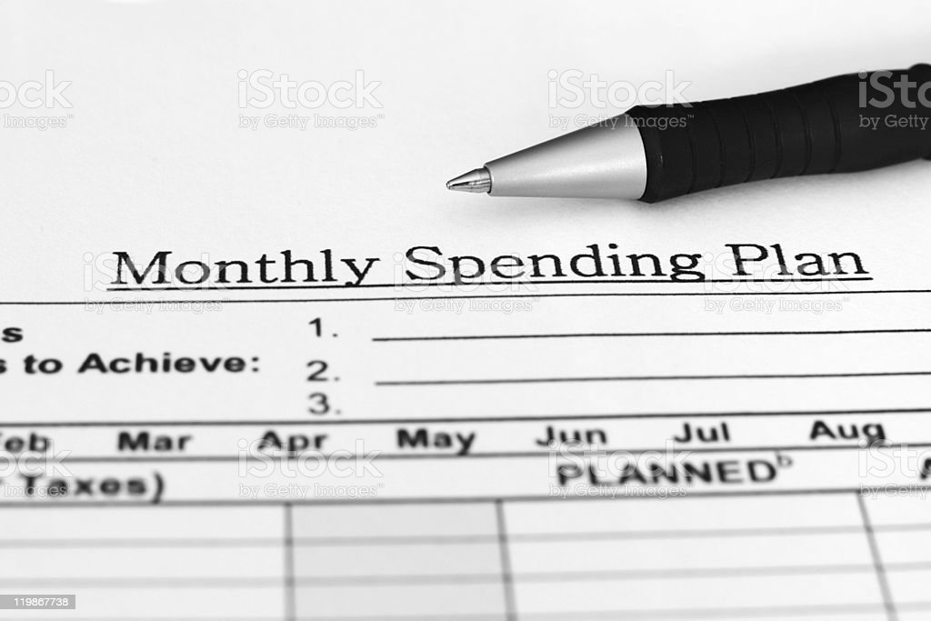 Monthly spending plan royalty-free stock photo