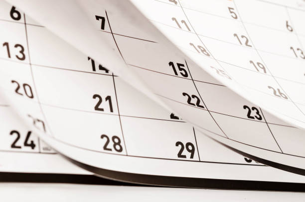 Months and dates shown on a calendar stock photo