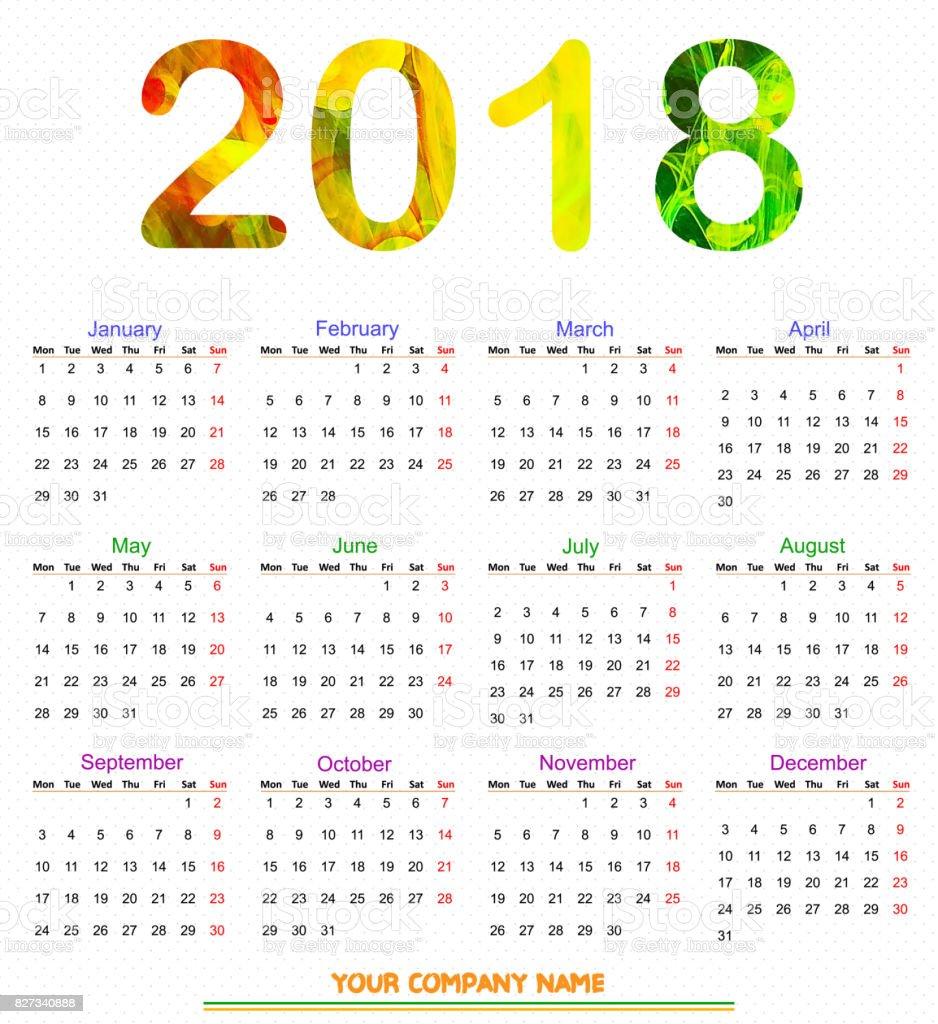 12 Months Calendar Design 2018 Print Ready And Editable ...