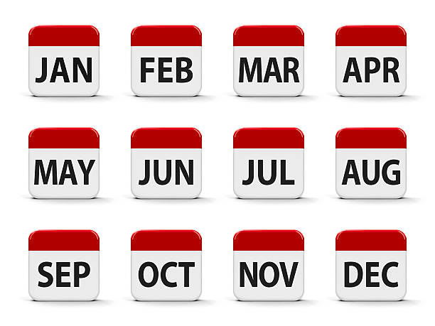 Months calendar Months calendar web buttons, three-dimensional rendering, 3D illustration month stock pictures, royalty-free photos & images
