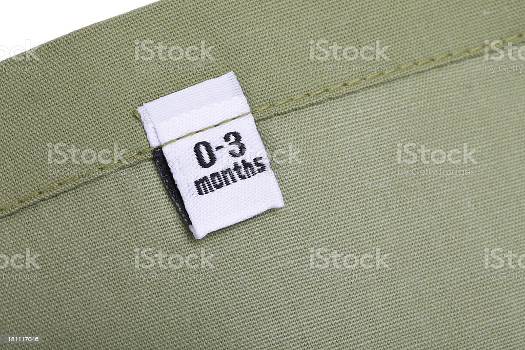 0-3 Months Clothing Label royalty-free stock photo