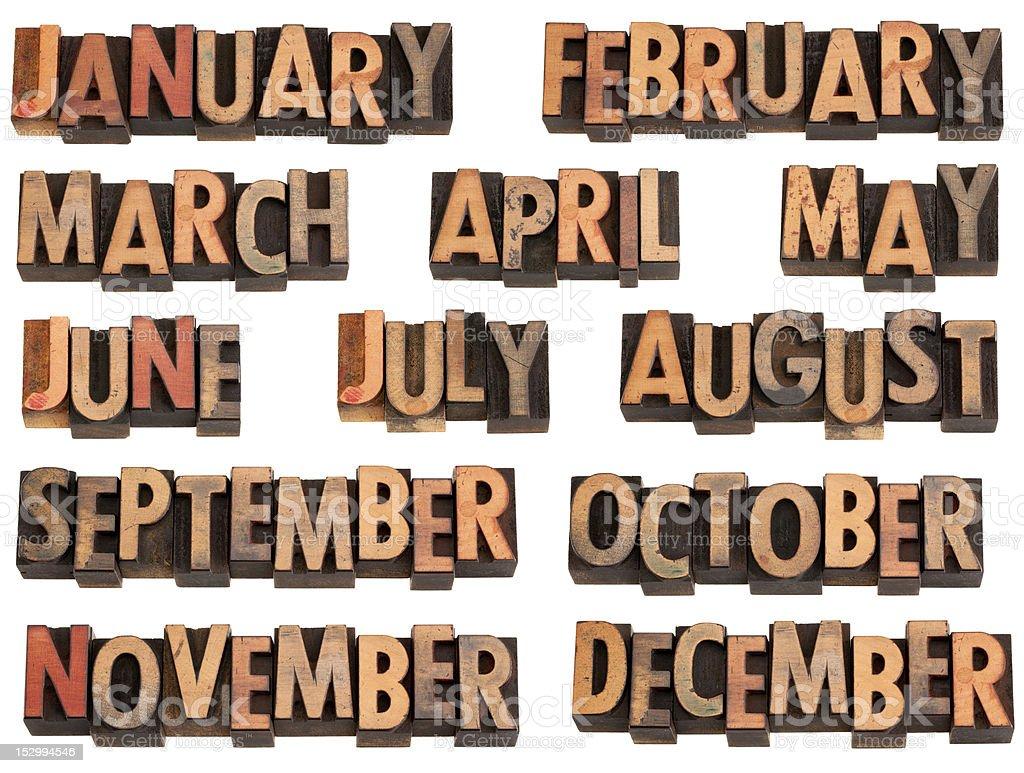 months in letterpress type stock photo