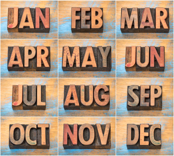 12 months in vintage letterpress wood type stock photo