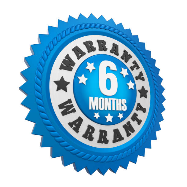 6 Months Warranty Badge Isolated stock photo
