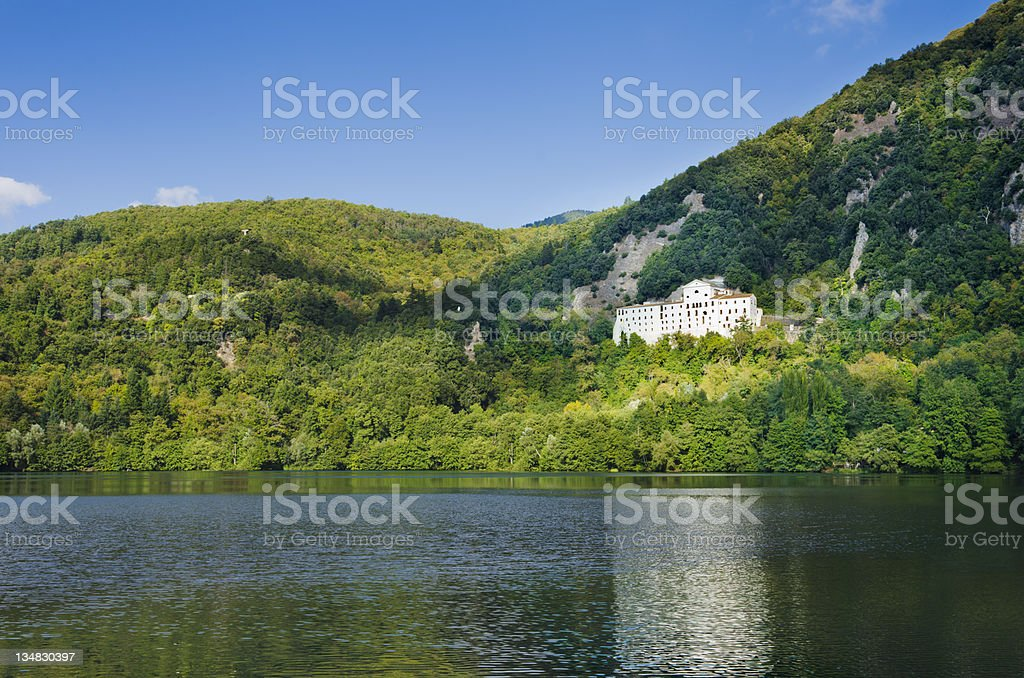 Monticchio Lake and the Abbey of St. Michael - Basilicata stock photo
