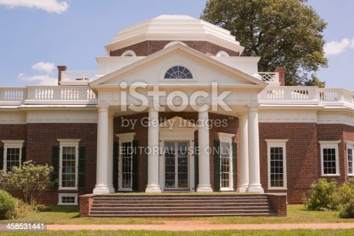 Charlottesville, VA, USA - August 7, 2010: The nickel view of the neoclassical Monticello, the national historic landmard and famous estate of Thomas Jefferson, built in 1772.