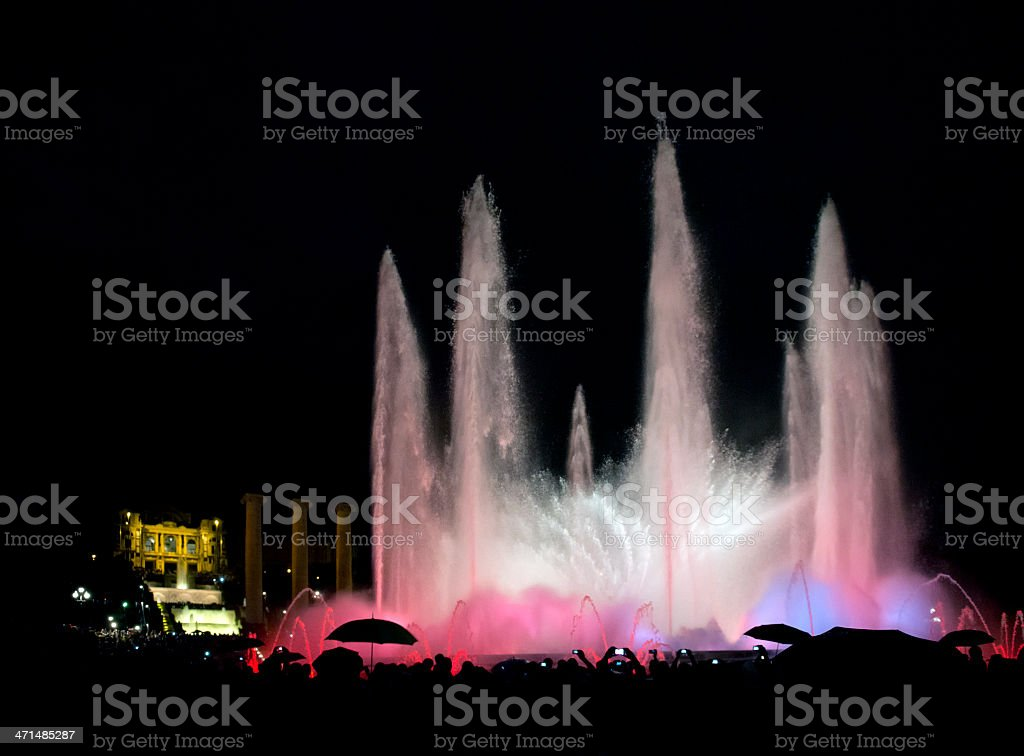 Montjuïc fountain at night stock photo