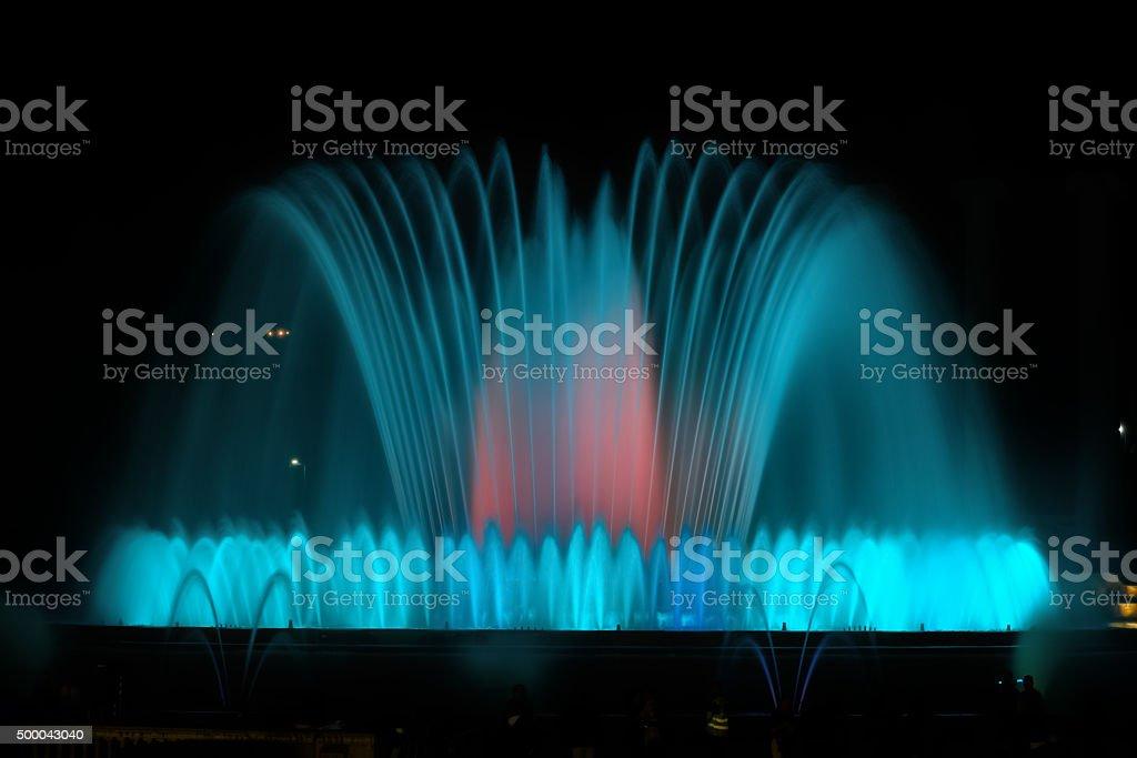 Montjuic Fountain in Barcelona, Spain stock photo