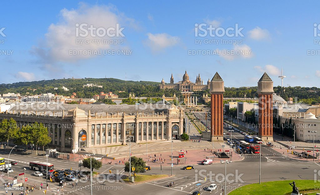 Montjuic hill in Barcelona, Spain stock photo