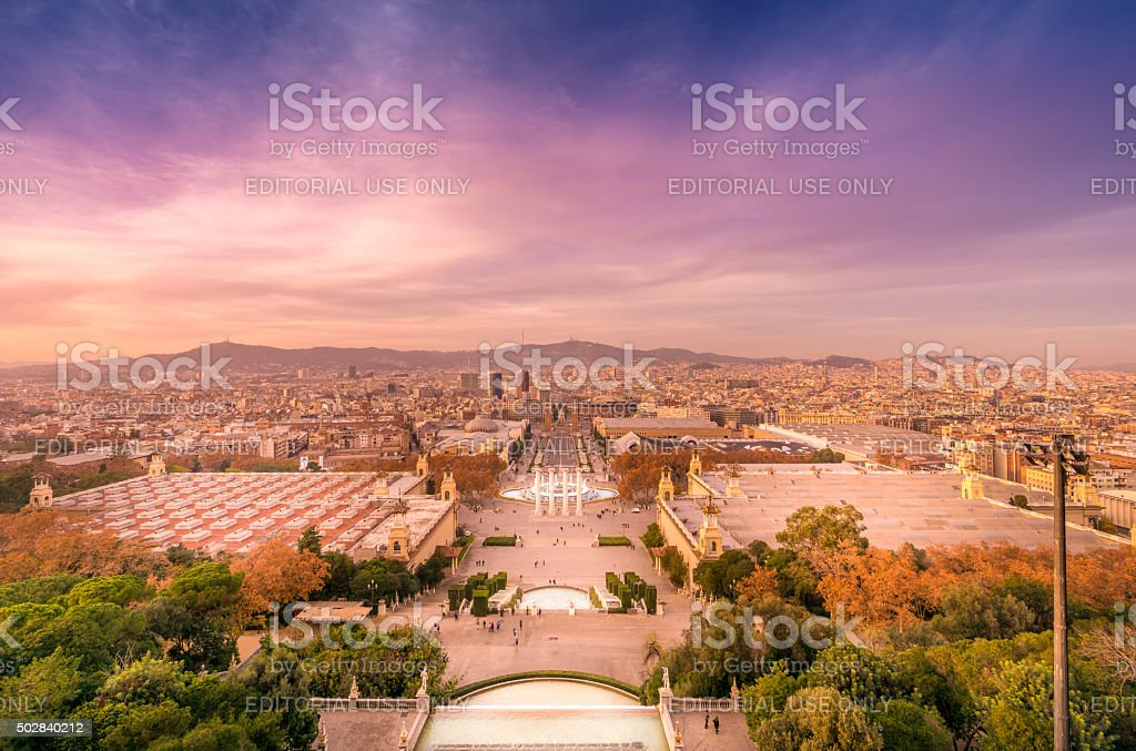 Montjuic in Barcelona magic fountains stock photo
