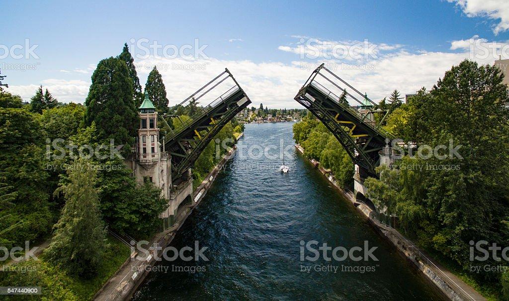 Montlake Bridge, Double-Leaf Bascule Bridge Lake Washington Seattle stock photo