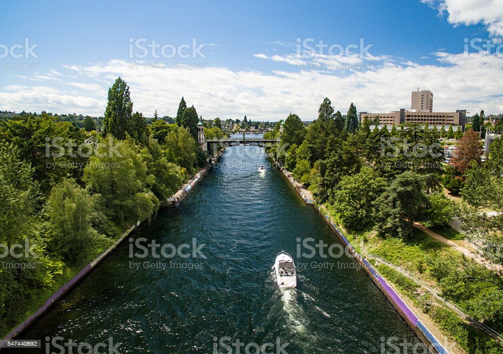 Montlake Cut Lake Washington Connecting to Lake Union Seattle, WA stock photo