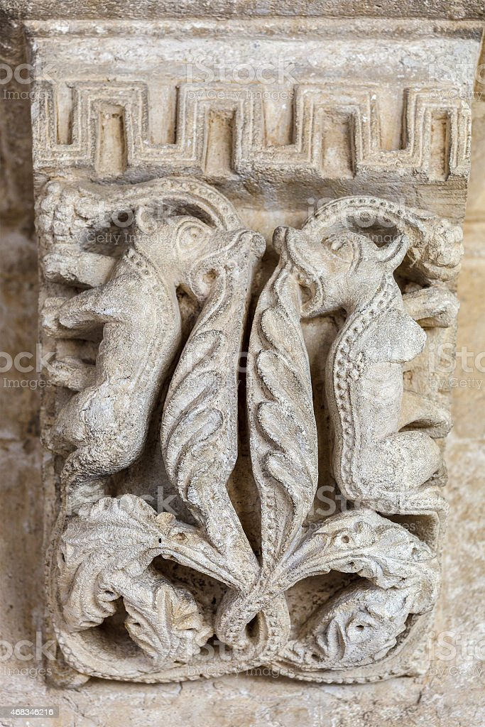 Montmajour Abbey, Carving - France royalty-free stock photo