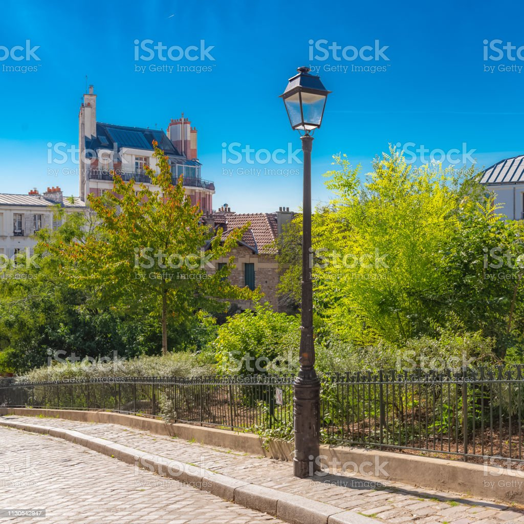 Montmartre, a parisian street stock photo