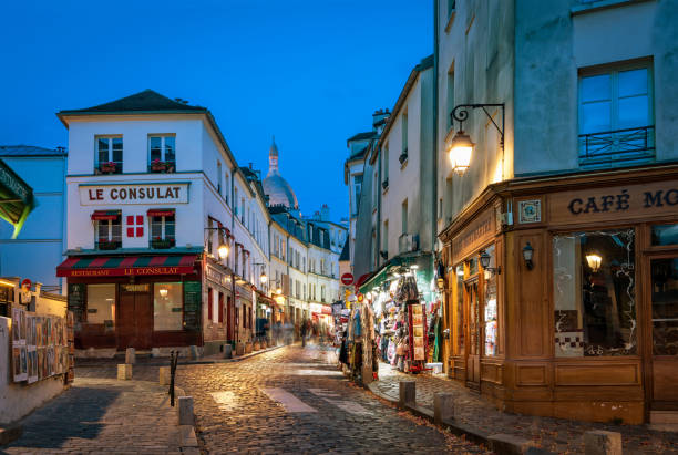 Montmartre at night stock photo