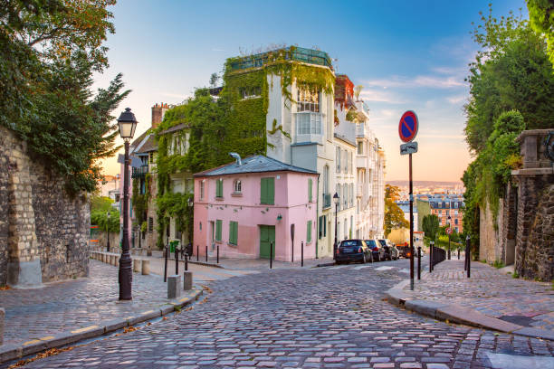 montmartre in paris, france - street stock pictures, royalty-free photos & images