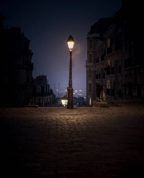 Montmartre lamp post Paris stock photo