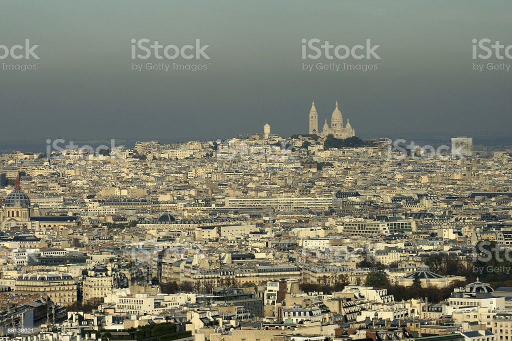 Montmartre, Sacre Coeur, from Eiffel tower royalty-free stock photo