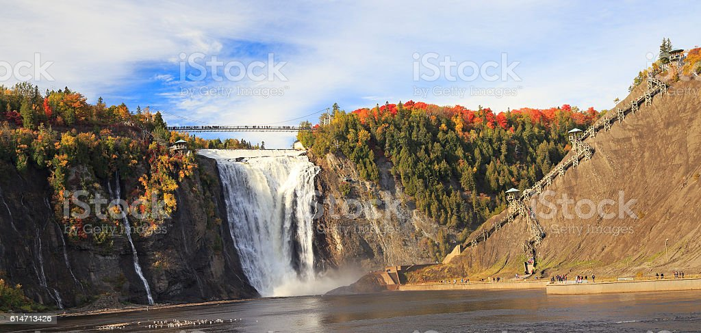 Montmorency Falls and Bridge in autumn, Canada stock photo