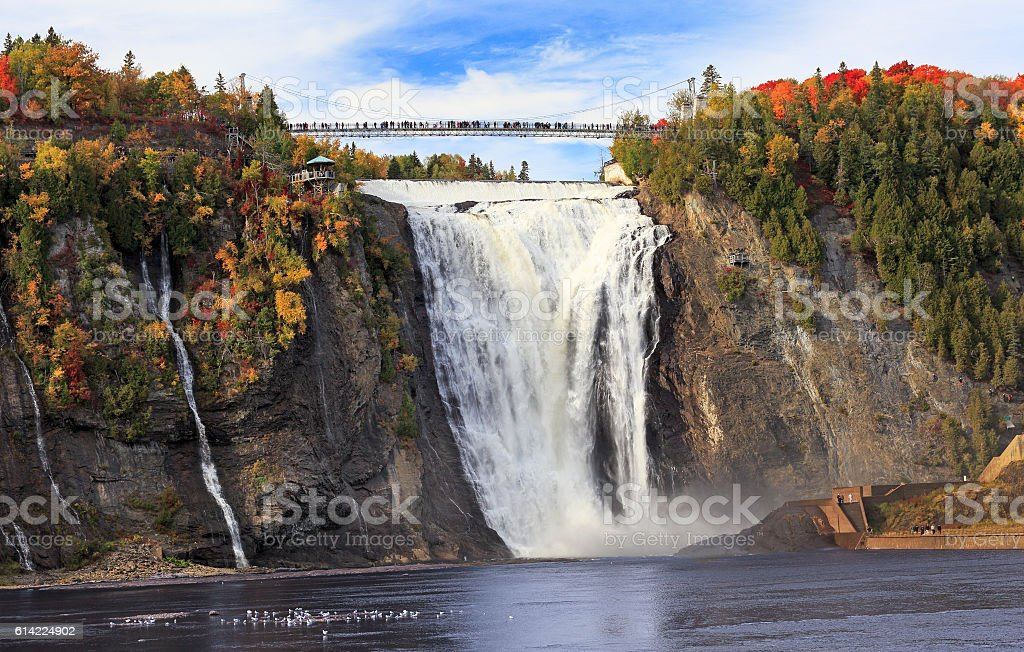 Montmorency Falls in autumn, Quebec, Canada stock photo
