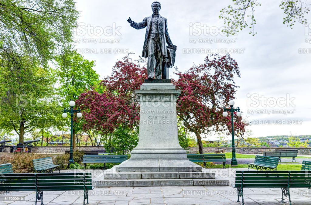 Montmorency Park National Historic Site with Jacques Cartier statue sculpture monument with benches and cannons stock photo