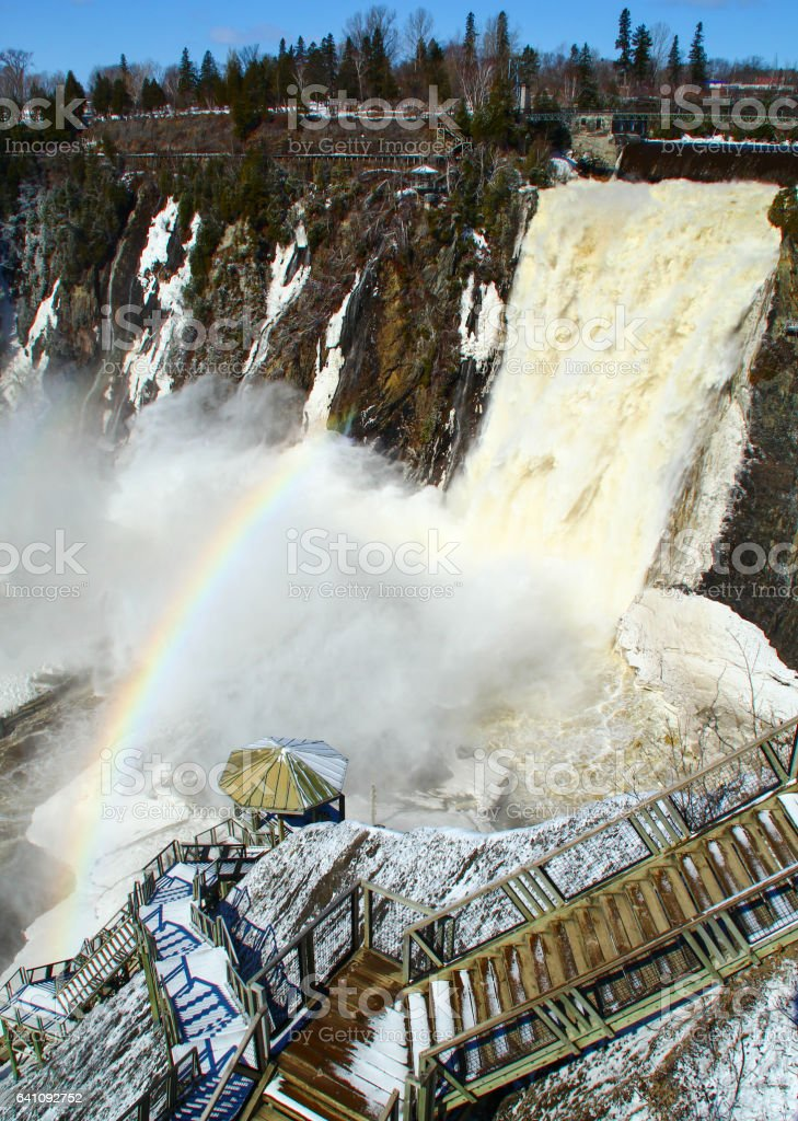 chute montmorency waterfall stock photo