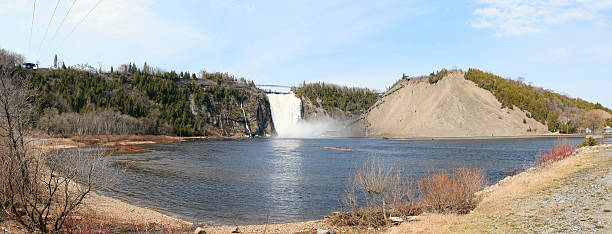 Montmorency Waterfall in Quebec Pano stock photo
