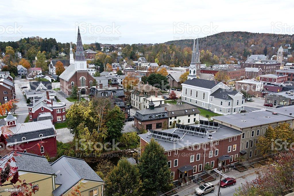 Montpelier cityscape in autumn stock photo