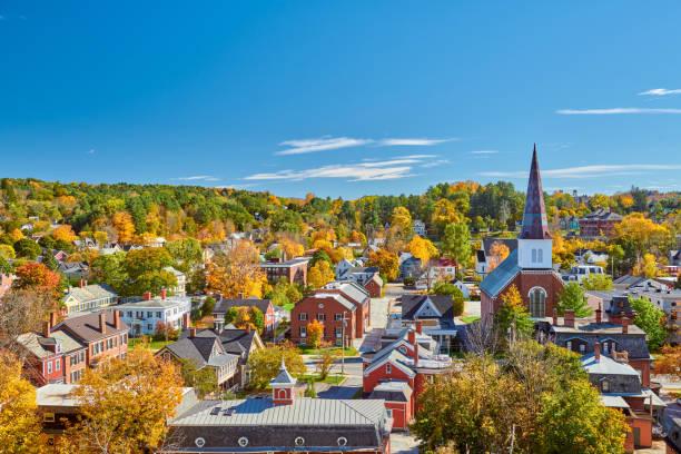 Skyline von Montpelier im Herbst, Vermont, USA – Foto