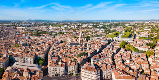 Montpellier aerial panoramic view, France stock photo