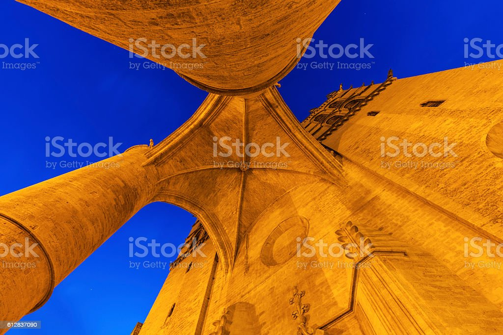 Montpellier Cathedral at night - Royalty-free Architectural Column Stock Photo