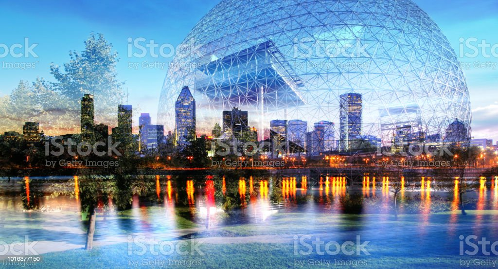 Montreal and Biosphere Photo Montage stock photo