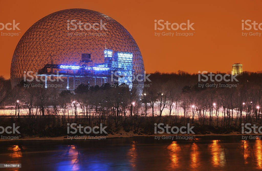 Montreal Biosphere at Night stock photo