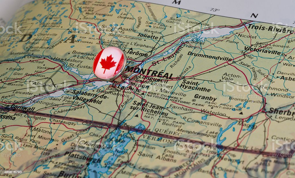 Montreal Canada Marked With Flag Pushpin on Map stock photo