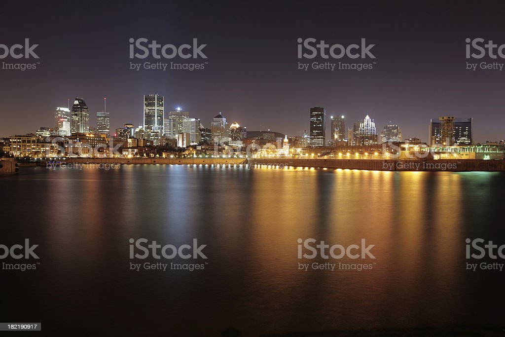 Montreal city lights at night royalty-free stock photo