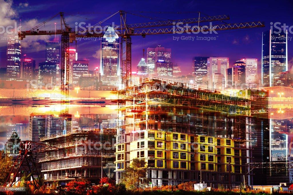 Montreal City Urban Construction stock photo